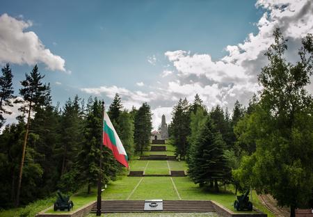 Memorial at Rodhopi mountain near village of Seraphimovo Bulgaria immortalize the victory over Ottoman Empire in Balkan War 1912 報道画像