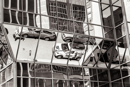 Montreal downtown street reflections on skyscrapers windows in black and white