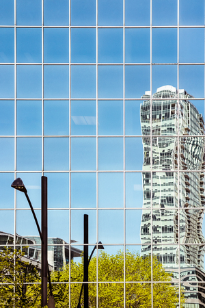 Skyscrapers reflections in Montreal Downtown