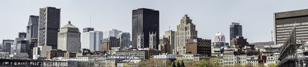 Montreal downtown from Old Port wide panorama