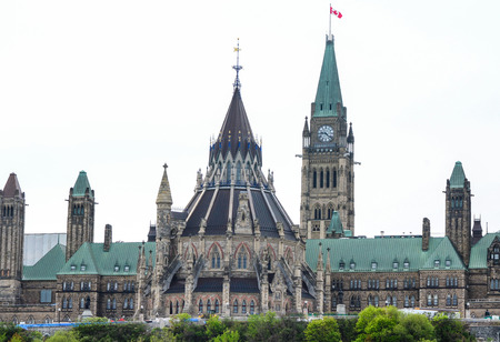 Back of the Cabnadian Parliement wth library building and clock tower in Ottawa,Canada