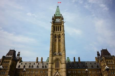 ottawa: Parliament Hill in Canadian capital Ottawa - Centre block. Stock Photo