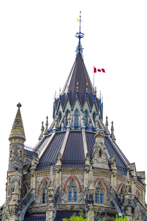 Canadian parliement library behind the clock tower of the Centre bulding in Ottawa. Stock Photo