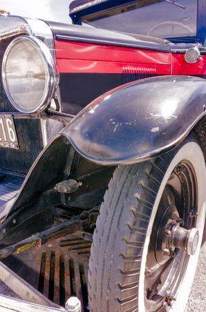 Old blue retro hotrod reflections in Montreal,Canada closeup