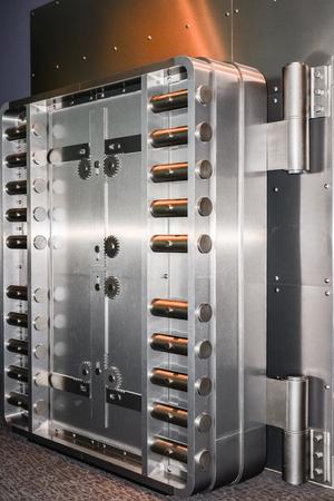 Heavy bank vault door closeup Stock Photo