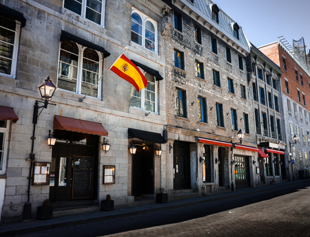 Notre Dame street in Old Montreal at morning Stock Photo