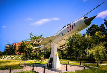 Military jetfighter MIG 21 with missiles monument at Nessebar city in Bulgaria Editorial