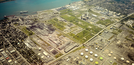 Montreal petrol port at Point-Aux-Trembles aerial view Stock Photo