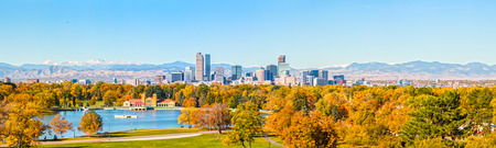 Skyline of Downtown Denver Colorado Stock Photo