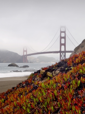 Golden Gate Bridge with Baker Beach and cliffs in foreground and fog covering up part of the towers