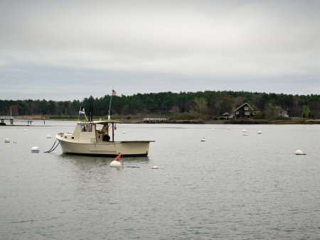 Fishing boat near Kittery Point, Maine overlooking the Atlantic Ocean