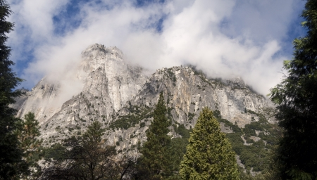 Panorama of the granite monolith El Capitan during the summer time in Yosemite