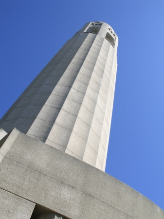 Lillian Coit Memorial Tower in Telegraph Hill neighborhood of San Francisco, California  Built 1933 in Pioneer Park, the 210 foot tower is a memorial to the fire fighters of San Francisco  Stock fotó