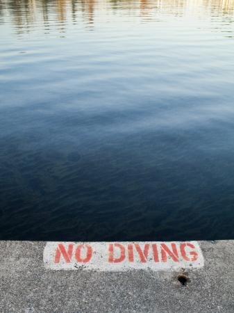 No diving sign painted on concrete overlooking Lake Washington in Kirkland, Washington