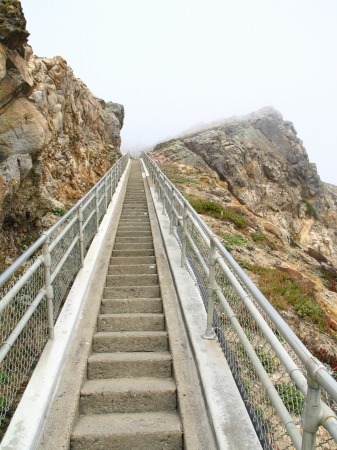 Point Reyes Lighthouse stairs in the Gulf of the Farallones on Point Reyes in Marin County, California with a total of 308 steps