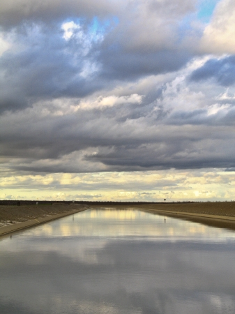 California Aqueduct canal on a colorful and cloudy day Stock fotó - 24758259