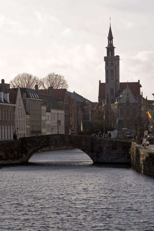 receptive: Bruges canal and bridge Stock Photo