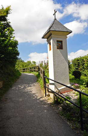 reminisce: Cross on path in Steyr, Austria Stock Photo