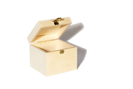 Little open empty wooden box on white background Stock Photo - 10938826