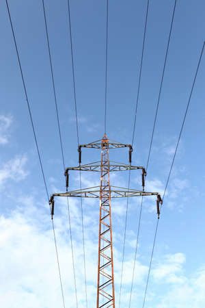 Power line tower against blue sky Stock Photo - 13193809