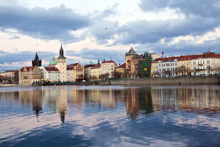 praha: Prague center at sundown, river Vltava Stock Photo