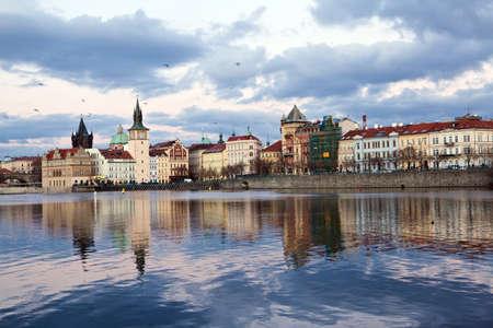 Prague center at sundown, river Vltava