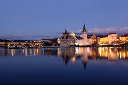 Prague center at sundown, river Vltava Stock Photo - 13258422