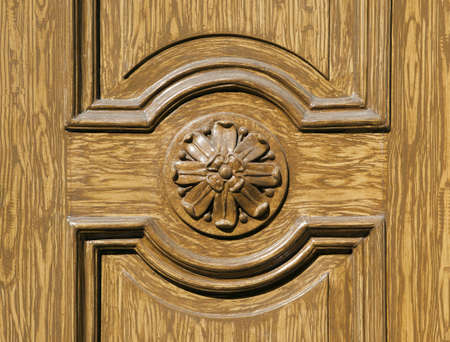 Historic wooden door in Prague, Czech republic photo