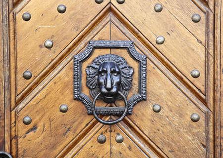 Lion door handle on wooden historic door in Prague, Czech Republic photo