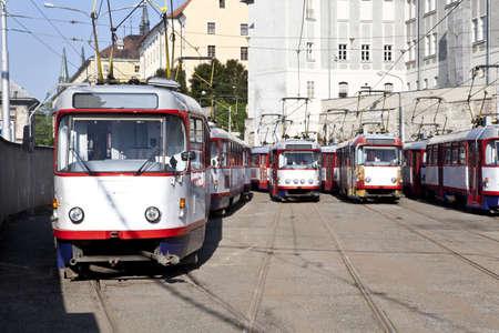 Streetcars in depot in Olomouc, Czech republic photo