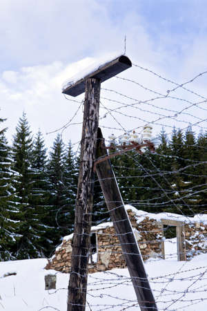iron curtain: Barbed wire, remains of iron curtain on Czech-German border in winter with snow Stock Photo