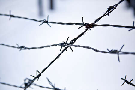 Barbed wire, remains of iron curtain on Czech-German border in winter with snow photo