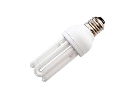 kilowatt: Energy saving light bulb on white background isolated Stock Photo