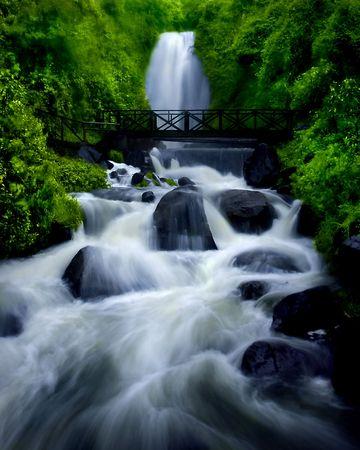 Waterfall in Ecuador, South America. Stock Photo