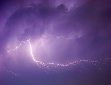thundering: Powerful lightning strike.