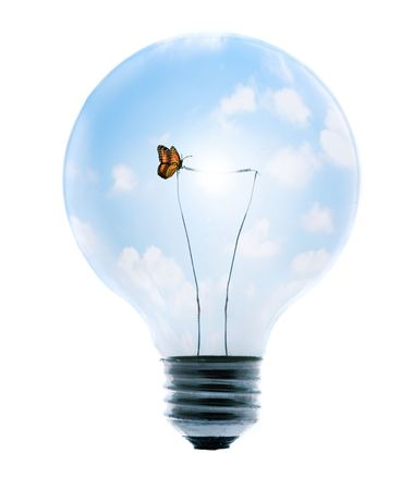Clean energy, a light bulb with a bright sky and butterfly.