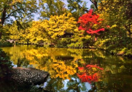 Paint-like landscape of a Japanese garden.