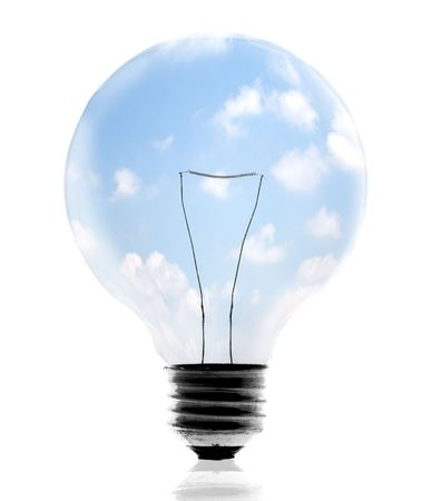 Clean energy, a light bulb with a bright sky. Stock Photo - 3272754