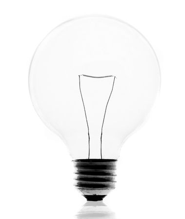 Clean energy, a light bulb with a bright sky. Stock Photo