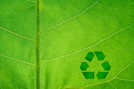 utilize: Recycle Symbol on backlit leaf macro.