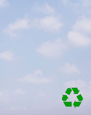 Recycle Symbol on soft cloudy sky. Stock Photo