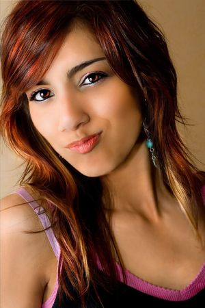 Beautiful young woman with fun expression.