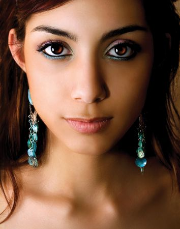 Portrait of young woman with beautiful makeup.
