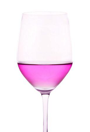 Pink Wine on White Background
