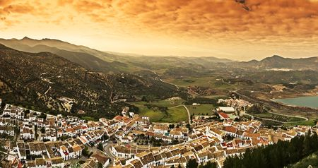 Panoramic view of the white village of Olvera in Spain  Stock Photo