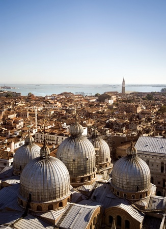 Venice aerial view with Saint Mark Cathedral  Stock Photo