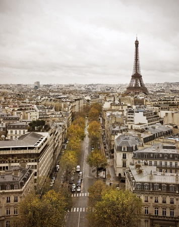 Paris skyline from the Arc de Triumphe with view of the Eiffel Tower.