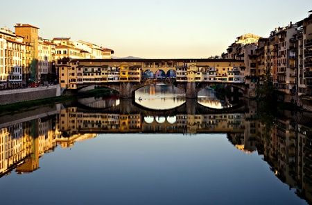 Ponte Vecchio at sunset in Florence, Italy  Stock Photo