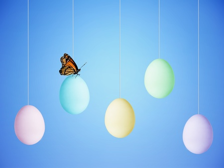 Colorful Easter Eggs hanging from strings