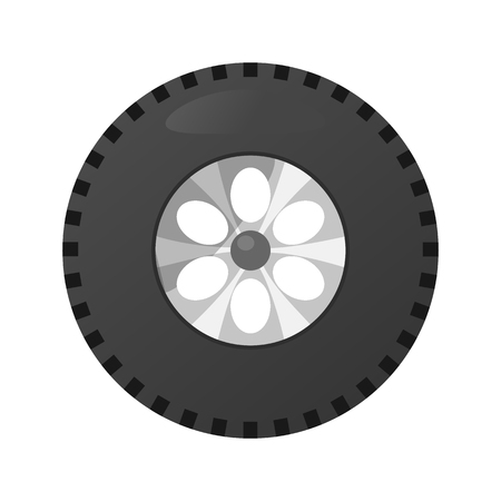 car speed: Auto wheels flat icons.